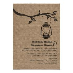 camp themed invitations   Burlap Inspired Outdoor / Camping Wedding Invites from Zazzle.com