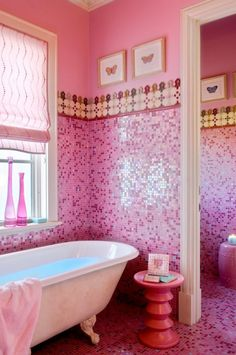 Absolutely obsessed with this cute pink bathroom with pink mosaic tile everywhere! #MosaicMonday #TileSensations