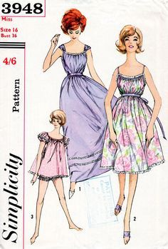 1960s Babydoll Nightgown and Panties Pattern Simplicity 3948 Vintage Sewing…