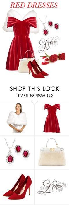 """Hot Red Dress"" by teez-biz-nez ❤ liked on Polyvore featuring FRR, Emilio De La Morena, Ross-Simons, Fendi, women's clothing, women, female, woman, misses and juniors"
