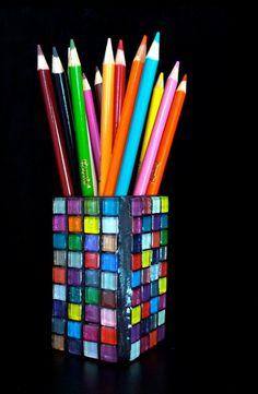 Multi Colored Glass Gem Mini Vase.