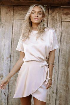 Silky Champagne Skirt | SABO SKIRT