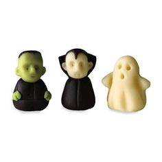 the cutest little marzipan figures for halloween from dean & deluca: frenkenstein, dracula, and a ghost