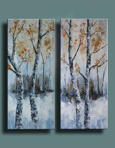 Original Abstract Painting Birch Trees in a Forest by EditVorosArt, $195.00