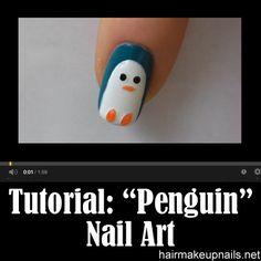 Penguin Nail Art Tutorial ►► http://www.hairmakeupnails.net/penguin-nail-art-tutorial/?i=p