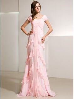 A-Line/Princess Scoop Neck Sweep Train Chiffon Evening Dress With Ruffle (017014216)