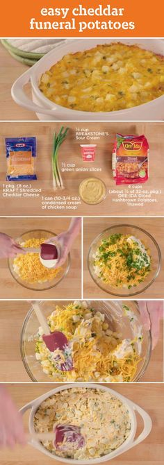 Easy Cheddar Funeral Potatoes – Get cheesy with this classic side dish recipe! With only five ingredients and ten minutes of prep time, these potatoes will be a simple and tasty addition to your Easter menu.