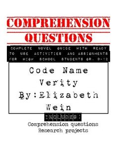 7 pages or 70 questions worth of comprehension questions for students to answer independently while reading Code Name Verity. Also includes ...