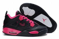 discount jordan 4 black red for ladies