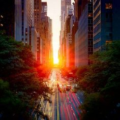 Manhattanhenge! The sunset lines up with Manhattan's street grid producing a totally dazzling and utterly romantic setting called Manhattanhenge. You can catch it again on July 12th at 8:24pm. (Best seats in house are the 57th and the 14th Street).