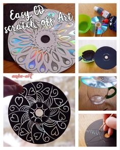Mother's Day is approaching quickly in Germany, and here's an easy diy project for kids of all ages. You can turn any old CD or DVD into a little work of art!