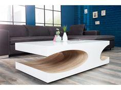 Table basse design blanc laqué/bois Cubico 120 cm