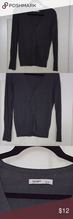 Dark Grey Cardigan Great Material buttoned up cardigan. All buttons are real and still in place. Sleeves are full and long. Body Length is up to waist. Old Navy Sweaters Cardigans