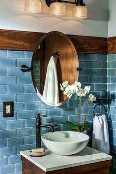 Badezimmer ♡ Wohnklamotte Tile design bathroom blue wall tiles, round mirror, white flowers as decor Nautical Bathroom Design Ideas, Rustic Bathroom Designs, Rustic Bathrooms, Bathroom Interior Design, Blue Bathrooms, Best Bathroom Tiles, Diy Bathroom Decor, Simple Bathroom, Bathroom Cabinets