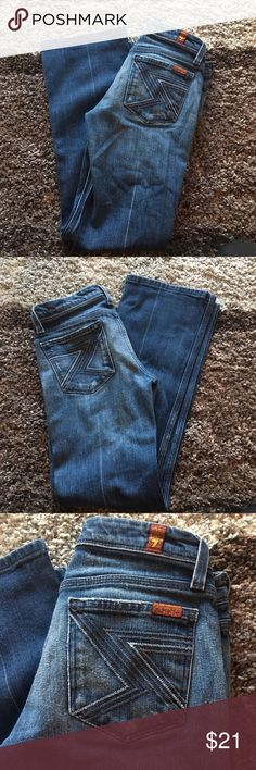"7 for all mankind flynt jeans size 25 Super cute jeans! Has some wear, but still in good condition. Bottoms have no wear.   98% cotton 2% elastane Size 25 34"" L 28"" inseam 7 For All Mankind Jeans"