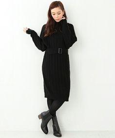 【【予約】CAROLINA GLASER / ロング ニットワンピース】ケーブルリブ編みが可愛いニットワンピース☆ ライトなナイロン混…