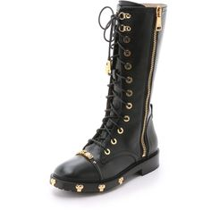 Moschino Combat Boots ($1,610) ❤ liked on Polyvore featuring shoes, boots, ankle booties, black, leather lace up boots, combat booties, military combat boots, leather booties and black leather booties