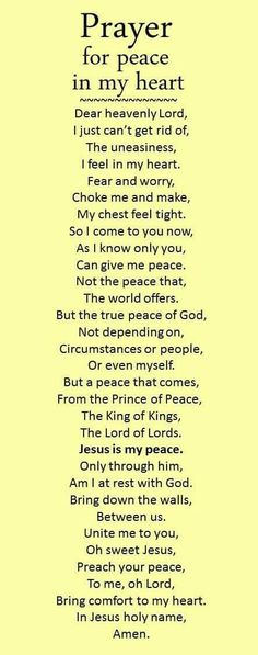 Pray for peace in my heart