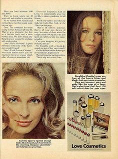 Love brand cosmetics ad. 1970. (My make up of choice in the early '70s)