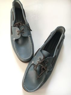 6a0befb8262dfb Tommy Hilfiger Bowman Steel Blue Men s 13 Boat Shoes Leather Slip On Loafers