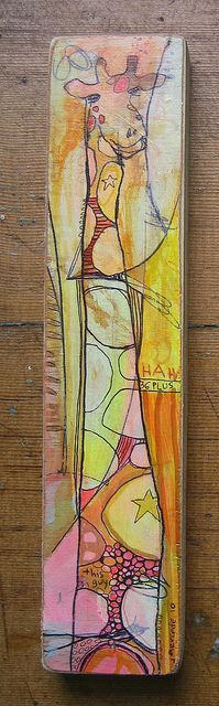 Acrylic paint, colored pencil and ball point pen on wood scraps!
