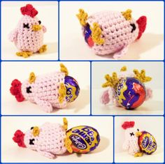 Egg cozy idea. These Creme Egg Cosies are crocheted by me and are my own design and come with a free Creme Egg (while in season). The yarn is a super-soft 50% cotton, 50 % bamboo. Washable at cool temperature (30C). 1ST CLASS ROYAL MAIL DELIVERY. I make these chickens to order in a range of colours (see […]