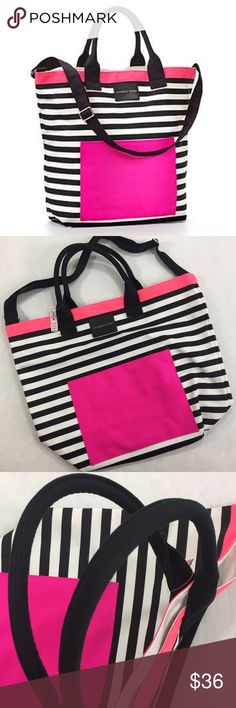 Victoria's Secret pink black & white striped tote Victoria's Secret pink black & white striped tote. Large and roomy. Approx measurements: 16in H, 13in W, 7in D. Canvas handles and adjustable shoulder strap (there is a small glue(?) stain on one handle (see pic). Features pink accent edge and outer pocket approx 8x10in. Outside material is a painted canvas; lined with plastic on the inside. I noticed very small irregularities in stripes in one area when taking pics (not noticeable but…
