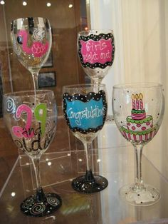 painted wine glasses - Bing Images