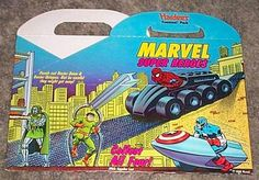 Rare vintage 1990 Hardees Marvel Comics children's/kid's fast food restaurant Fun Meal box:Spider-man/Hulk/Captain America/She-Hulk/Avengers, with art by John Romita Sr. 90's Marvelmania!
