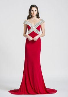 Off the Shoulder Chiffon Floor Length Natural Waist Sheath/ Column Evening Dresses With Crystal - 1300305442B - US$279.99 - BellasDress