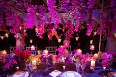 The long table design that night. All about hot pink color