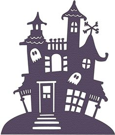 haunted house silhouettes coloring pages - photo#37