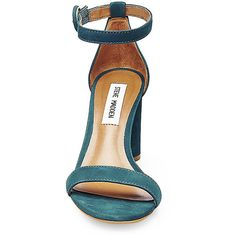 Steve Madden Women's Shanna Sandals ($90) ❤ liked on Polyvore featuring shoes, sandals, teal, steve madden footwear, nubuck sandals, fleece-lined shoes, nubuck shoes and teal sandals