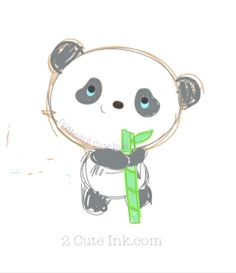 Little Panda Holding Bamboo Sketch!