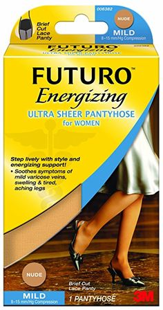 Futuro Ultra Sheer Pantyhose for Women, Nude, Mild (8-15 mm/Hg)