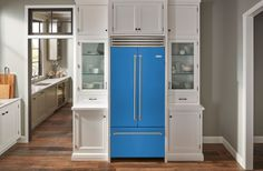 These Custom Colorful Kitchen Appliances From BlueStar Are A Celeb Chef Favorite Refrigerator Cabinet, Built In Refrigerator, Kitchen Cabinet Storage, Home Chef, Kitchen Colors, Inspired Homes, Design Awards, New Kitchen, French Doors