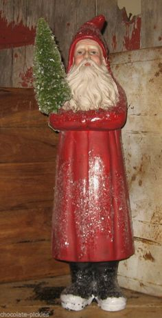 """22""""*Bethany Lowe Belsnickle Style RED SANTA Statue w/Bottle Brush Christmas Tree #NaivePrimitive"""