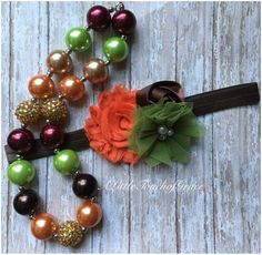 fall necklace and headband set by ALittleTouchofGrace on Etsy https://www.etsy.com/listing/482002643/fall-necklace-and-headband-set
