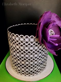 Wafer paper cake - Wafer paper covered cake with a 50/50 fondant gumpaste flower.
