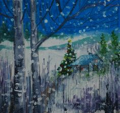 """Winter Scene study. This is the smaller study of the larger  """"Winter Scene"""" painting #artstudy #art #artist #painting #acrylicpainting"""