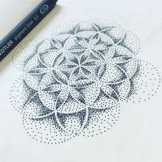 """The flower of life blooms in love and radiates love all around it"" ~ Maharishi Mahesh Yogi • #floweroflife #sacredgeometry #wip #workinprogress #drawing #miss_fino #fun #Moleskine #Staedtler #pigmentliner #mystaedtler #tattoo #design #tattoodesign #tattooapprentice #mandala #zen #zenspiration #dotwork #dots #stippling #blackandwhite #bloom #radiatelove #love #quote #qotd"