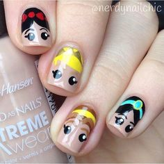 Don't wait, then, share ideas, nail designs, cartoon patterns. Add eyebrows to nails Cute Nail Colors, Cute Nail Art, Cute Acrylic Nails, Disney Princess Nails, Disney Nails, Disney Inspired Nails, Sun Nails, Unicorn Nail Art, Fruit Nail Art