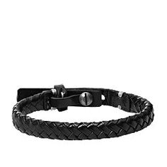 Bracelet noir en cuir tressé