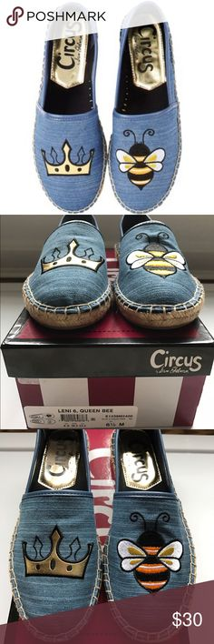 NIB NEW Circus Sam Edelman espadrille boho queen So cute!! New in Box / never worn. Circus Sam Edelman denim espadrilles. With patch style image of queen crown & bee on top of shoe.  Perfect for the Queen Bee! Circus by Sam Edelman Shoes Espadrilles