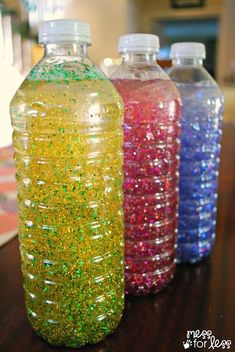 Thinking of having my preschoolers each make one of these. I know I can gather enough water bottles! Calming bottles - these sensory bottles are great for little ones to explore and for preschoolers to use during a cooling off period. Sensory Activities, Sensory Play, Learning Activities, Preschool Activities, Sensory Bags, Kids Learning, Color Activities, Diy Sensory Toys For Toddlers, Sensory Motor