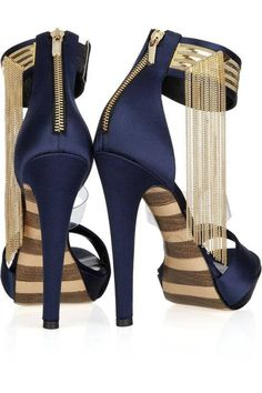 Blue Stilletos with gold zippers and ankle cuff details