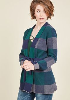Simply Snuggly Plaid Cardigan in Woodland