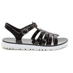 Blast From The Past Jelly Sandals BLACK ($13) ❤ liked on Polyvore featuring shoes, sandals, black, strappy platform sandals, black braided sandals, strappy sandals, black jelly sandals and black strap sandals