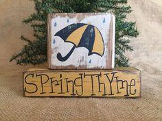 Primitive Country Umbrella Rain Drops Spring Thyme Shelf Sitter Wood Block Set #CountryPrimitiveRustic #DoughandSplinters