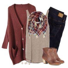 Oversized rust cardigan & plaid blanket scarf